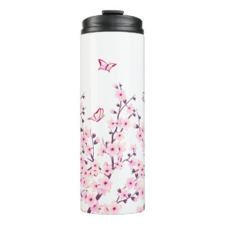 Floral Cherry Blossoms Butterflies Thermal Tumbler