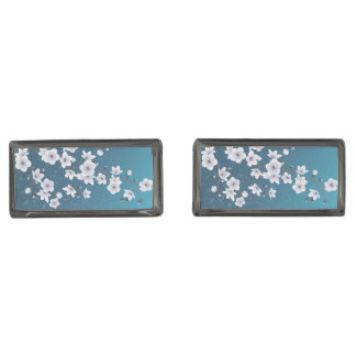 Floral Cherry Blossoms Dark Blue Gunmetal Finish Cufflinks