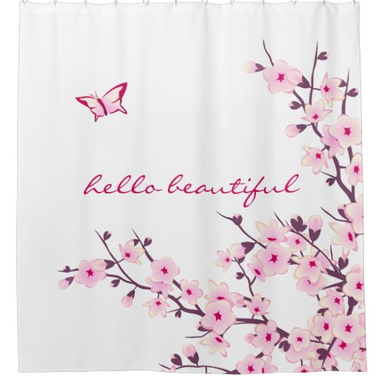 Floral Cherry Blossoms Hello Beautiful Text Shower Curtain