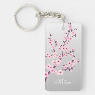 Floral Cherry Blossoms Keychain Monogram