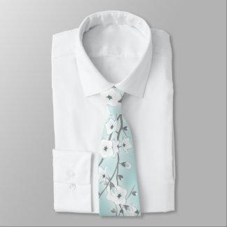Floral Cherry Blossoms Mint Tie