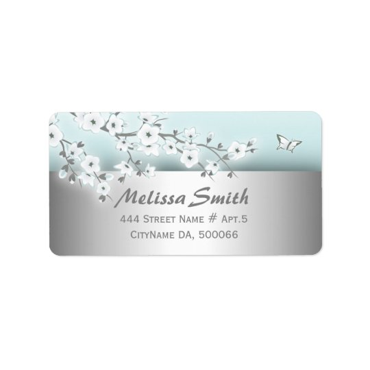Floral Cherry Blossoms Mint White Address Label