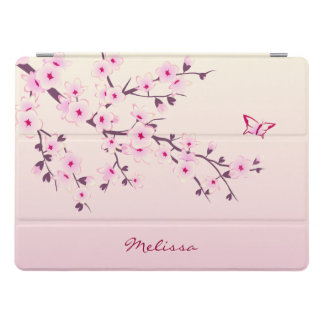 Floral Cherry Blossoms Monogram iPad Pro Cover