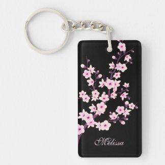 Floral Cherry Blossoms  Monogram Key Ring
