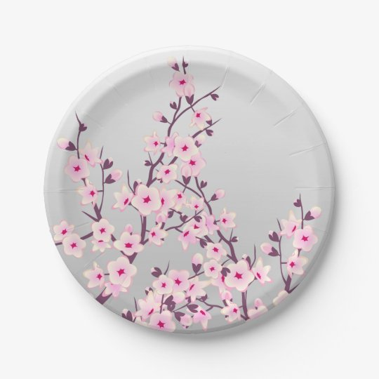 Floral Cherry Blossoms Paper Plate