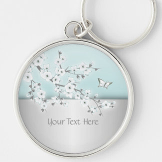 Floral Cherry Blossoms Personalize Silver-Colored Round Key Ring