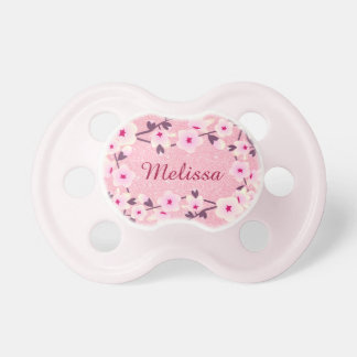 Floral Cherry Blossoms Personalized Glitter Baby Pacifiers