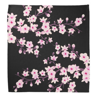 Floral Cherry Blossoms Pink Black Bandana