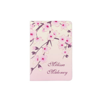 Floral Cherry Blossoms Pink Girly Monogram Passport Holder
