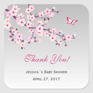 Floral Cherry Blossoms Pink Gray Baby Shower Square Sticker