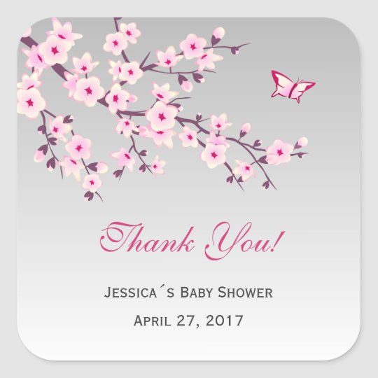 Floral Cherry Blossoms Pink Grey Baby Shower Square