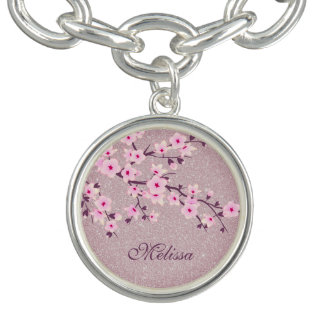 Floral Cherry Blossoms Pink Silver