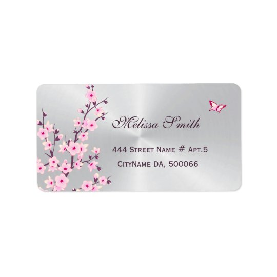 Floral Cherry Blossoms Pink Silver Label