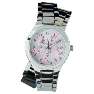 Floral Cherry Blossoms Pink Silver Watches