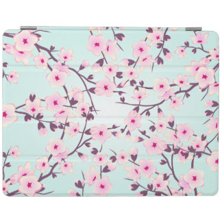 Floral Cherry Blossoms Pink Turquoise iPad Cover