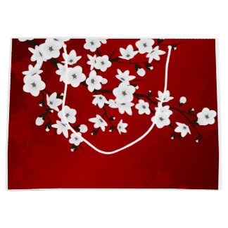 Floral Cherry Blossoms Red White Black Large Gift Bag