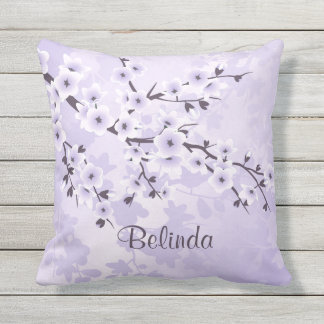 Floral Cherry Blossoms Sakura  Purple Outdoor Cushion