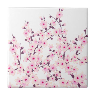 Floral Cherry Blossoms (Sakura) Small Square Tile