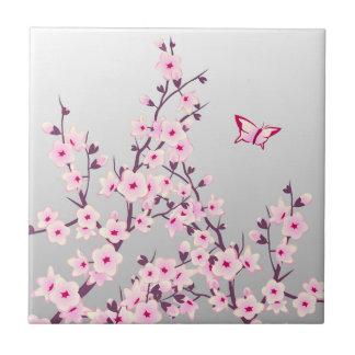Floral Cherry Blossoms Ceramic Tile