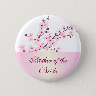 Floral Cherry Blossoms Wedding 6 Cm Round Badge
