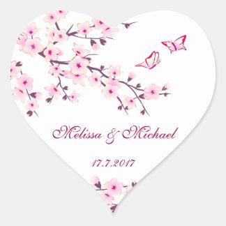 Floral Cherry Blossoms Wedding Heart Sticker