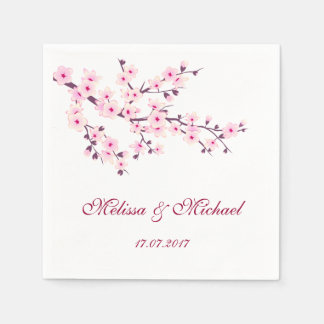 Floral Cherry Blossoms Wedding Paper Napkin