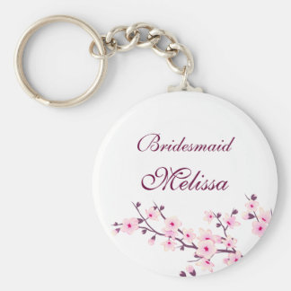 Floral Cherry Blossoms White Pink Key Ring