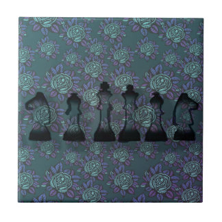Floral Chess Small Square Tile