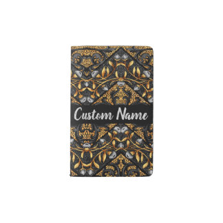 Floral Chevron Paisley Filigree Custom Name Flower Pocket Moleskine Notebook