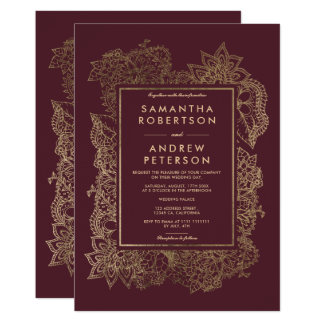 Floral chic faux gold frame burgundy wedding card
