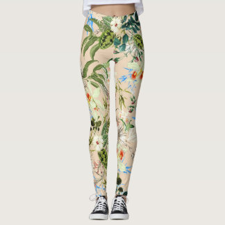 Floral Chic Flowers and Leaves Leggings