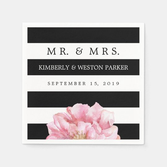 Floral Chic Personalised Wedding Napkins Disposable Serviettes