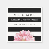 Floral Chic Personalized Wedding Napkins Standard Cocktail Napkin