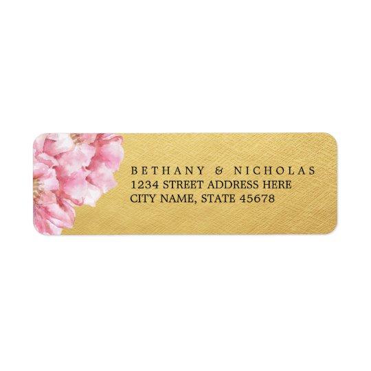 Floral Chic Return Address Labels / Gold