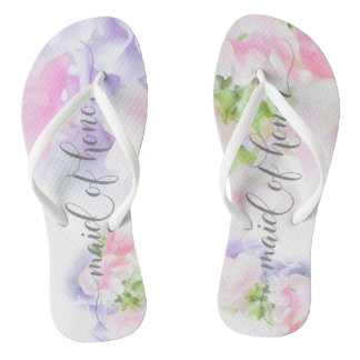 FLORAL CHIC WEDDING SWEET PEAS Maid of Honor Flip Flops