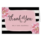 Floral Chic Wedding Thank You Note Card / Pink