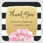 Floral Chic Wedding Thank You Stickers / Gold