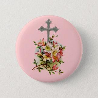 Floral Christian Cross 6 Cm Round Badge