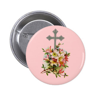 Floral Christian Cross 6 Cm Round Badge