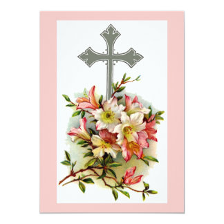 Floral Christian Cross 13 Cm X 18 Cm Invitation Card
