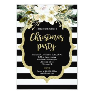 floral Christmas party invitation black white gold