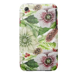 Floral Christmas Pattern Holiday Case-Mate iPhone 3 Case
