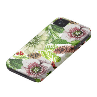 Floral Christmas Pattern Holiday iPhone 4 Cases