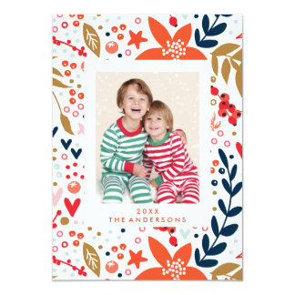 Floral Christmas Pretty Holiday Photo Card