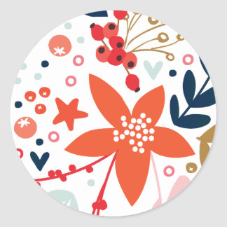 Floral Christmas Pretty Holiday Sticker