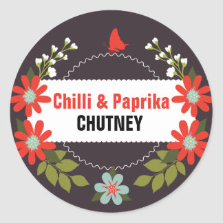 Floral Chutney Labels - 3 inch or 1.5 inch Round Sticker