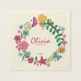 Floral Circle First Birthday Party Paper Napkins Disposable Serviette