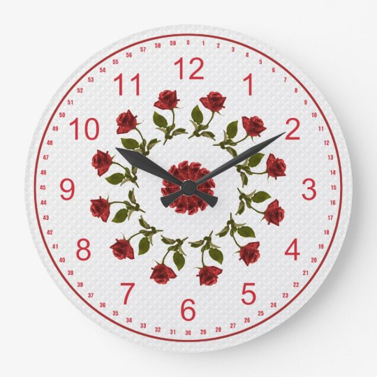 Floral Circle of Red Roses, White Lattice Pattern