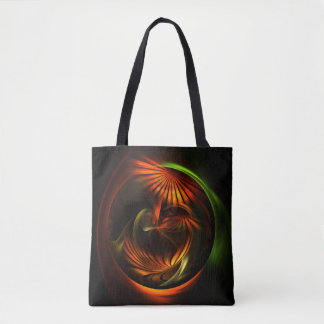 Floral circle on black tote bag