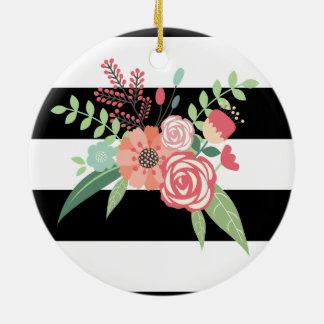 Floral circle ornament. round ceramic decoration